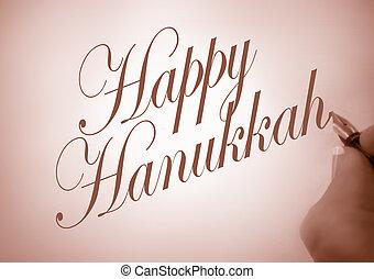 Callligraphy Happy Hanukkah - Person writing Happy Hanukkah...