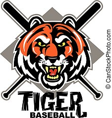 tiger baseball design with mascot head and crossed bats