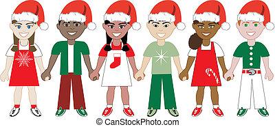 kidsunitedchristmas1 - Vector Illustration of 6 kids of...