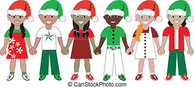 kidsunitedchristmas2 - Vector Illustration of 6 kids of...