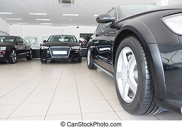 showroom - Moscow, Russia, May, 8, 2015: Cars in a dealer's...