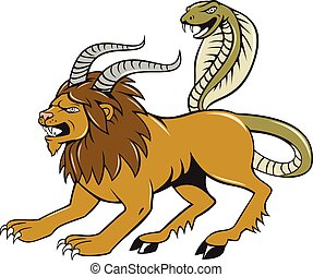 Chimera Attacking Side Cartoon - Illustration of a Chimera,...