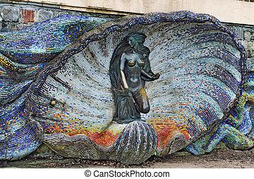Sculpture of a Nymph Svetlogorsk Rauschen, Russia -...