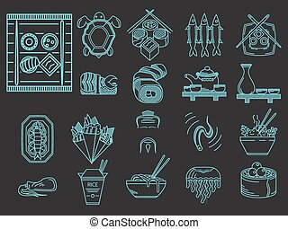 Blue line vector icons for japanese menu