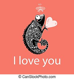 in love with a chameleon - graphic love with a chameleon on...