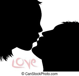 kissing couple - vector kissing couple silhouette on white...