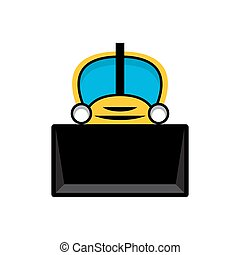 Yellow toy tractor icon.