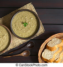 Cream of Lentil Soup - Cream of lentil soup in rustic bowl...