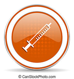 medicine orange icon syringe sign
