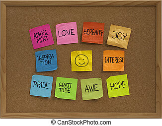 smiley and ten positive emotions on bulletin board