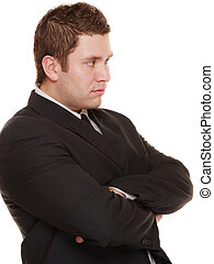 Young man in bad mood, gloomy - Young man businessman...