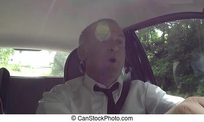 Car Driver Man Singing Song Tune - People, travel, happy man...