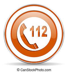 緊急事態, 印, 呼出し,  112, オレンジ, アイコン