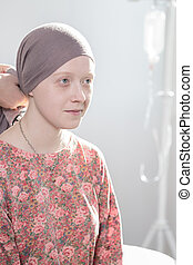 Cancer teenage girl - Portrait of cancer teenage girl...