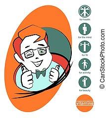 Orno-gird - Vector cartoon boy with healthy lifestyle icons