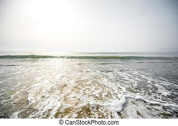espuma, ondas, ligado, a, praia,
