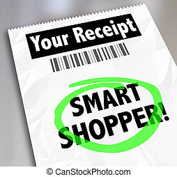 Smart Shopper Store Receipt Words Circled Spending Money Wisely