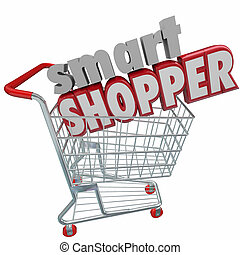 Smart Shopper Red 3d Words Shopping Cart Comparison Sale...