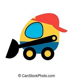 Skid steer loader. - Skid steer loader cartoon icon over...