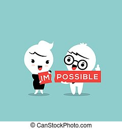 Impossible torn in two parts im and possible illustration -...