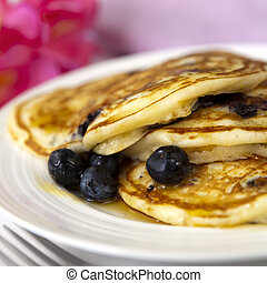 Blueberry Pancakes - Blueberry buttermilk pancakes, with...