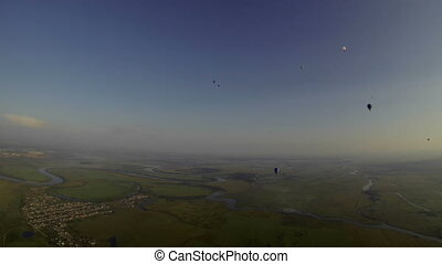 View from cockpit of balloon to morning landscape - Top view...