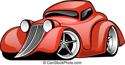 Classic American Hot Rod Coupe - Hot Rod muscle car cartoon...