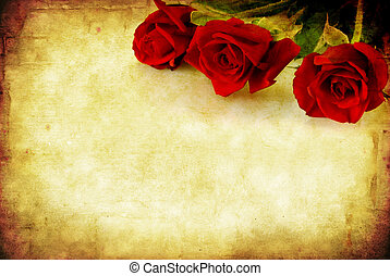 Grunge Red Roses - Valentines Day background, combining red...