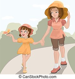 Mother walks with her daughter in the park Illustration in...