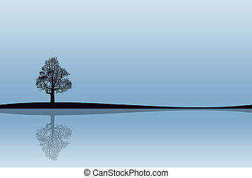 Tree - Illustration of a silhouette of a tree with reflexion...