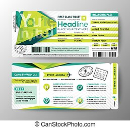 Abstract Polygon design Boarding Pass Event Ticket Invite...