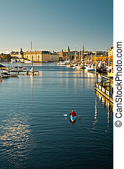 Morning in Stockholm - View to the Stockholm embankment from...