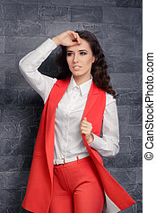 Woman in Smart Office Outfit - Image of a trendy and stylish...