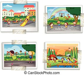 Playground photos - Illustration of four photos of childhood...