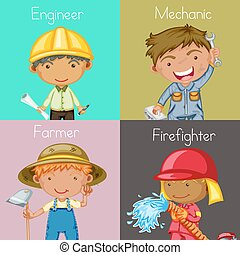 Occupations - Illustration of four different occupations