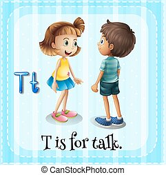 Talking - Flashcard letter T is for talking