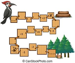 Puzzle game - Illustration of a puzzle game with woodpacker...