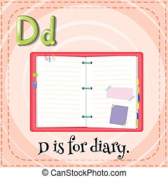 Alphabet D - Flashcard letter D is for diary