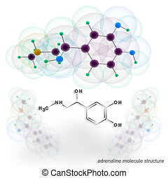 Adrenalin molecule structure. Three dimensional model render