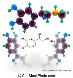 Adrenalin molecule structure Three dimensional model render