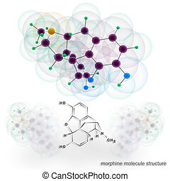 Morphine molecule structure. Three dimensional model render