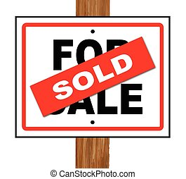 Sold - A typical for sale sale sign with a sold splash over...