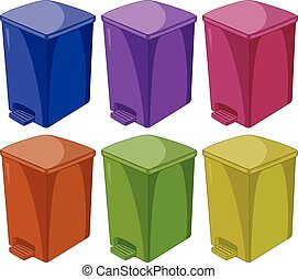 Trashcan - Six different colors of trashcan