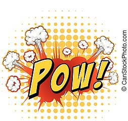 Pow - Word expression with yellow polkadots background