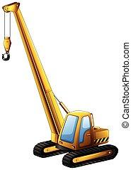 Crane truck - Close up yellow crane truck with hook hanging