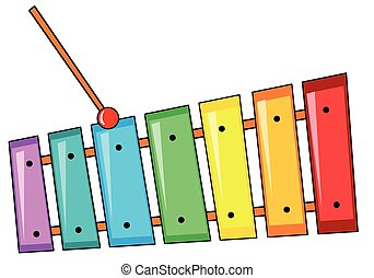 Xylophone - Closeup colorful xylophone with the stick