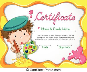 Certificate with artist and watercolor background