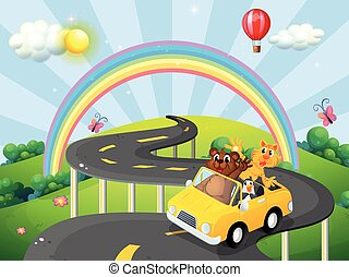 Road trip - Animals riding convertible car with rainbow...