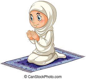 Muslim - Female muslim praying on the carpet