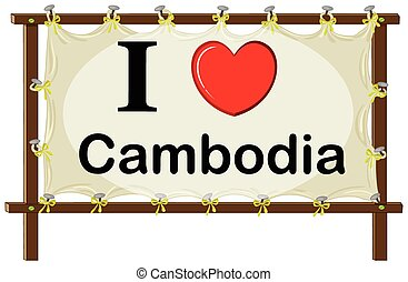 Cambodia - I love Cambodia in wooden frame